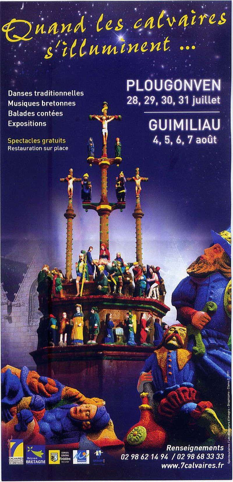 Quand les calvaires s'illuminent ... à Plougonven et Guimiliau (2011), à Plougastel et Saint Thégonnec (2012), à Tronoën et Guéhenno (2013) File0030
