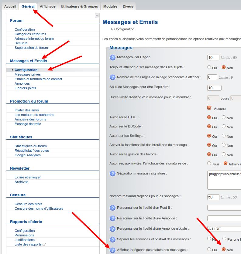 Supprimer les libellés des icônes de bas de page des forums Captu264