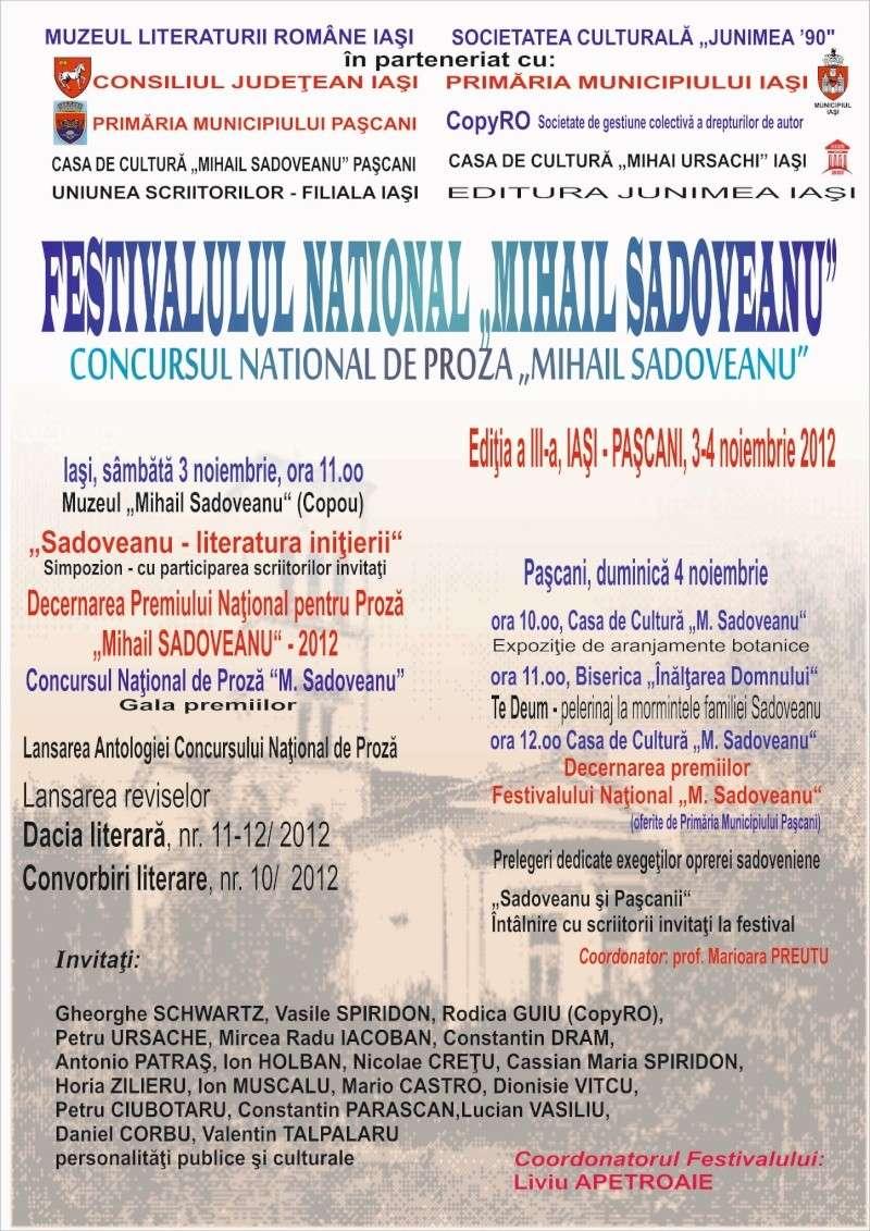 """Festivalul Naţional şi Concursul Național de Proza """"Mihail Sadoveanu"""", Iaşi 3-5 noiembrie 2012 Afis_f11"""