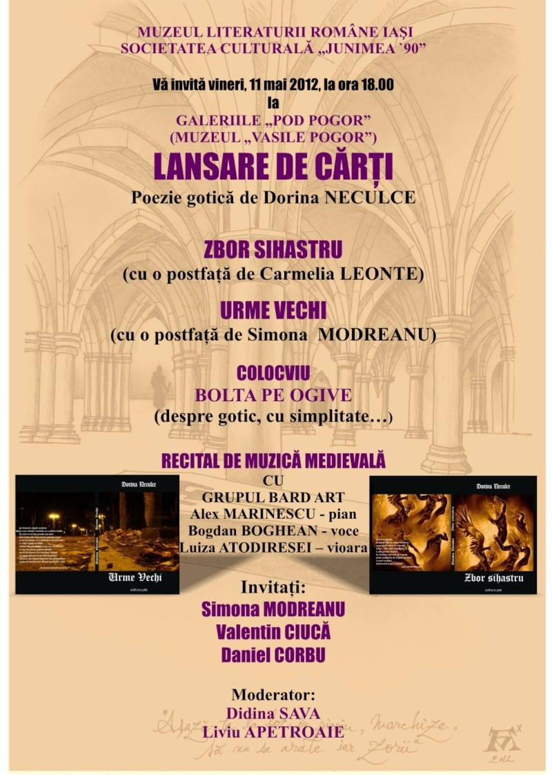 Lansare de cărţi - poezie gotică - Dorina NECULCE-11 mai 2012 Afis_g10