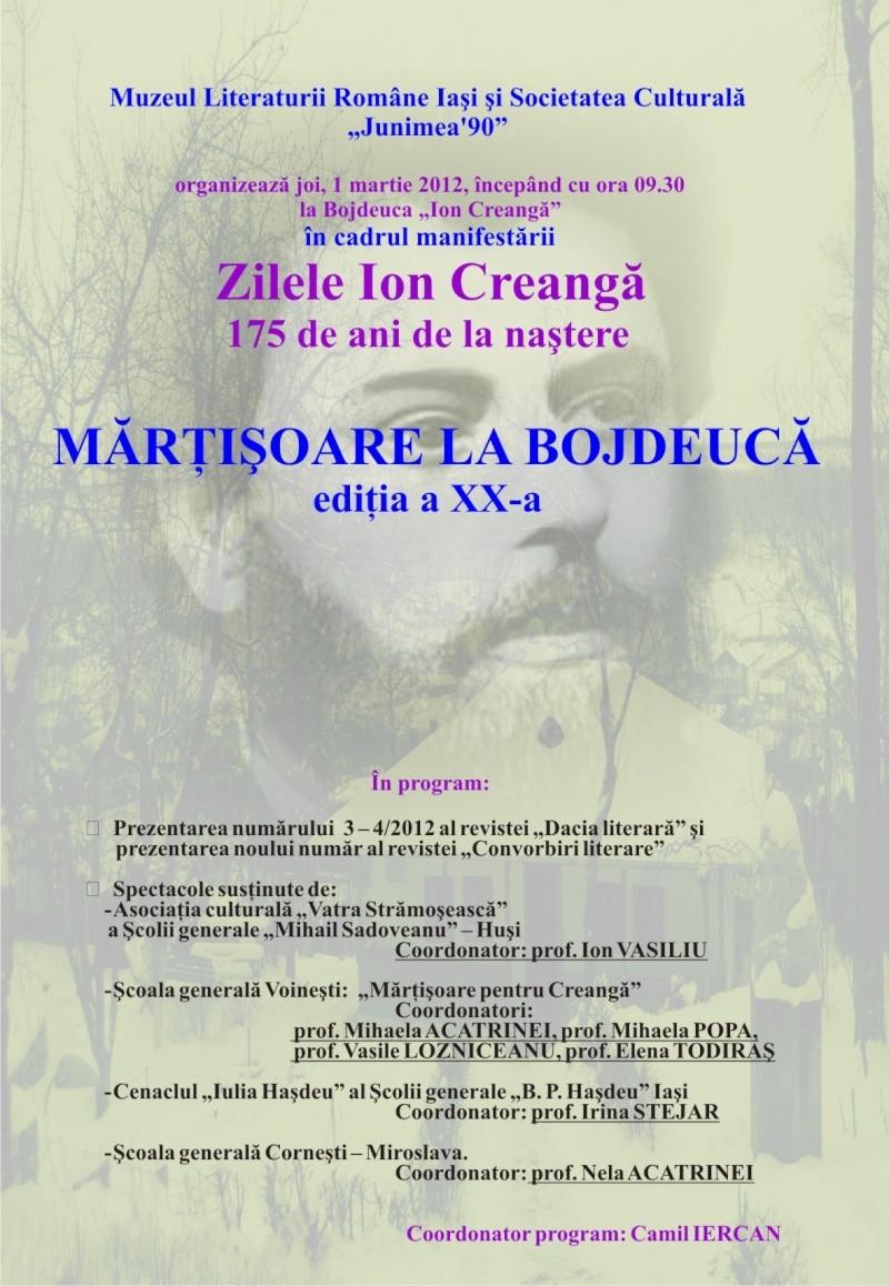 """ZILELE """"ION CREANGĂ"""" – 175 ani de la naştere Afis_m10"""