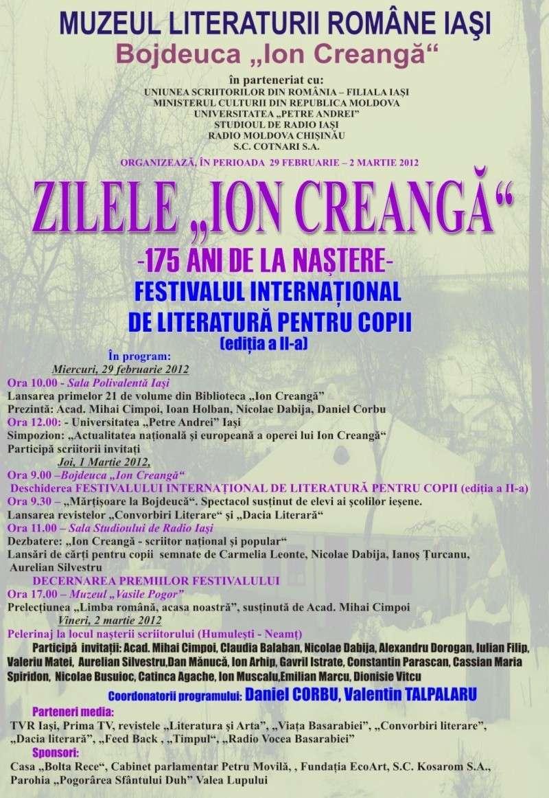 """ZILELE """"ION CREANGĂ"""" – 175 ani de la naştere Afis_z10"""