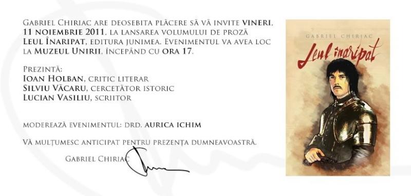 """Lansare de carte - """"Leul înaripat""""-Gabriel Chiriac, la Muzeul Unirii-11 noiembrie 2011 Chiria10"""