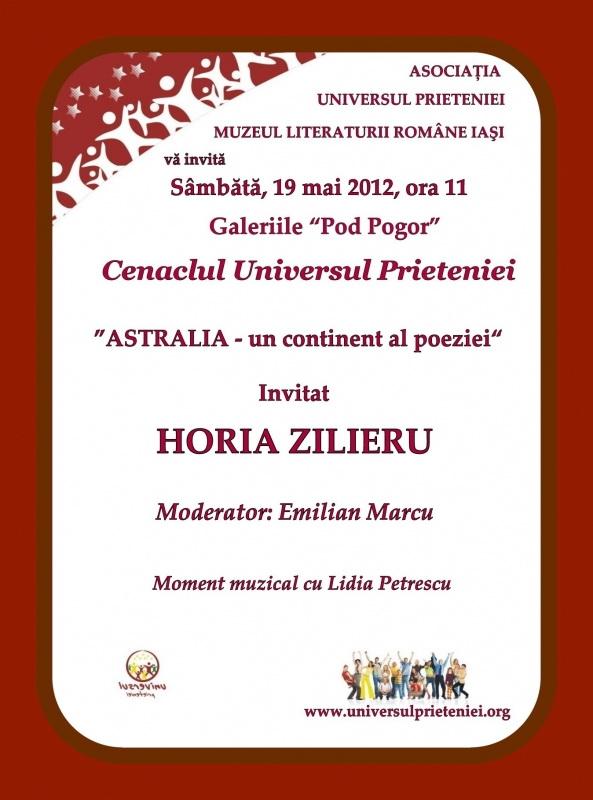 """Şedinţa XXI a Cenaclului Universul Prieteniei-""""ASTRALIA – un continent al poeziei"""" întâlnire de suflet cu omul şi poetul HORIA ZILIERU-19 mai 2012 Clip24"""