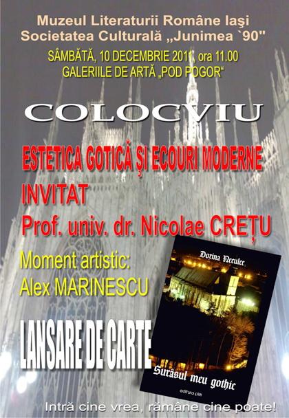 """Lansarea volumului """"Surâsul meu Gothic"""" -Dorina Neculce în cadrul Colocviului- """"Estetica gotică şi ecouri moderne""""-10 dec 2011 Clip_180"""