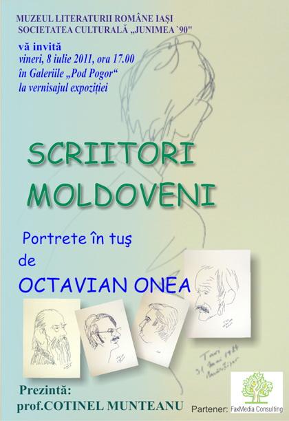 """Vernisaj expozitie """"Scriitori moldoveni"""" – portrete în tuş de Octavian Onea.  Clip_313"""