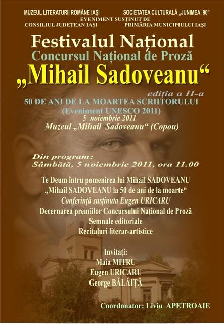 """FESTIVALUL CONCURS NAŢIONAL DE PROZĂ  """"MIHAIL SADOVEANU""""EDIŢIA a II-a, IAŞI, 4-6 noiembrie 2011 Clip_331"""