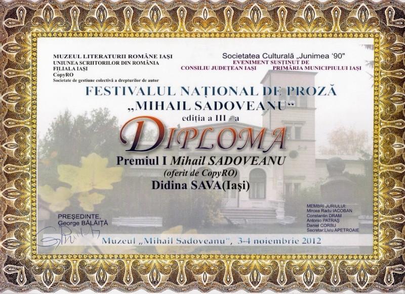 """Festivalul Naţional şi Concursul Național de Proza """"Mihail Sadoveanu"""", Iaşi 3-5 noiembrie 2012 Scan14"""