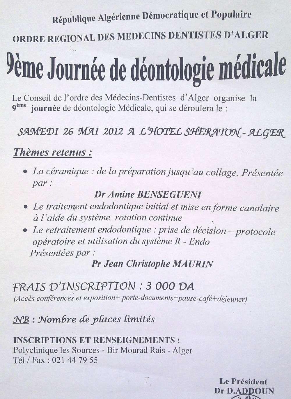 Journée de déontologie médicale 26mai10