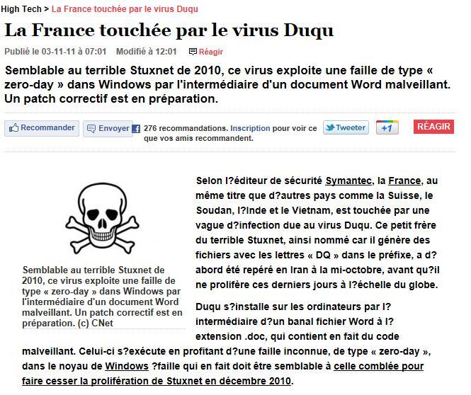 alerte au virus duqu Duqu10