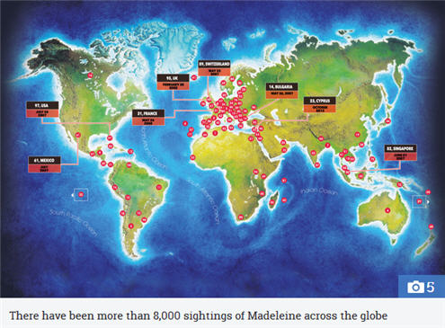 WORLD WITNESSES How many Madeleine McCann 'sightings' have there been around the world and where were they? 143