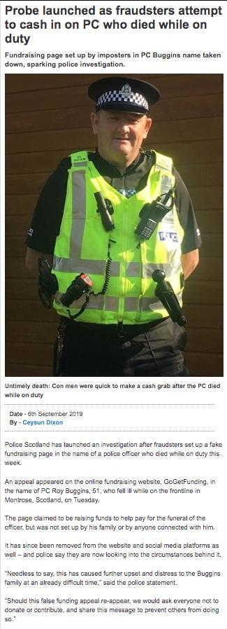 Another fraudulent fund: Probe  launched as fraudsters attempt to cash in on PC who died in line of duty 190
