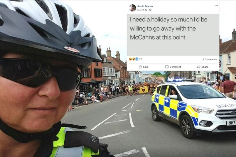"""PC Paula Manos: """"I need a holiday so much I'd be willing to go away with the McCanns at this point.""""Police officer who allegedly posted joke about Madeleine McCann keeps job  PC Paula Manos will be 'encouraged to reflect and learn from the issue' 1_mano10"""