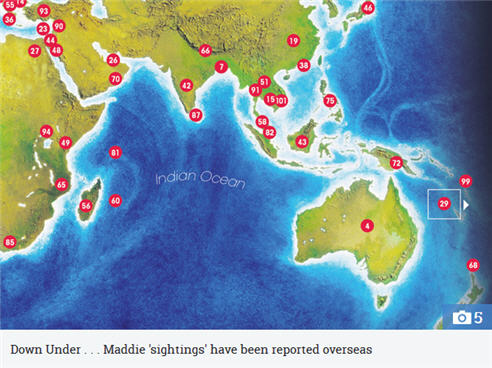 WORLD WITNESSES How many Madeleine McCann 'sightings' have there been around the world and where were they? 318