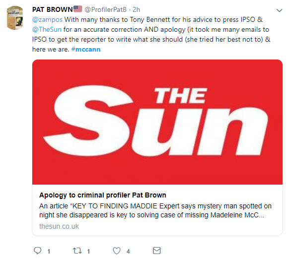 US Criminal Profiler Pat Brown gets an apology from the Sun with Tony Bennett's help Apolog10