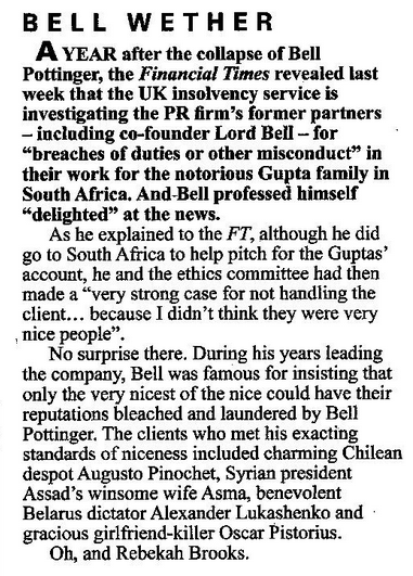 Lord Bell: 'Only the very nicest of the nice could have their reputations bleached and laundered by Bell Pottinger' Bell_p10
