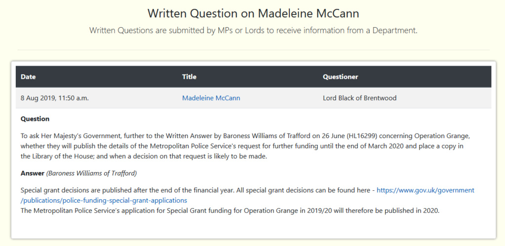 Lord Black of Brentwood: Written Question on Madeleine McCann Black_12