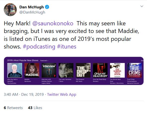 Mark Saunokonoko's Podcasts:  Madeleine McCann Dan_mc10
