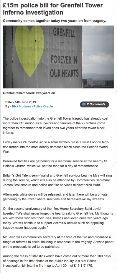 Government refuses full police funding request for Grenfell investigation despite approving all others - including Madeleine McCann Investigation Grenfe10
