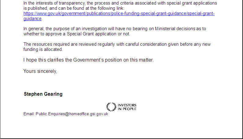 FOI Responses re: Funding for Madeleine McCann Investigation Home_o11