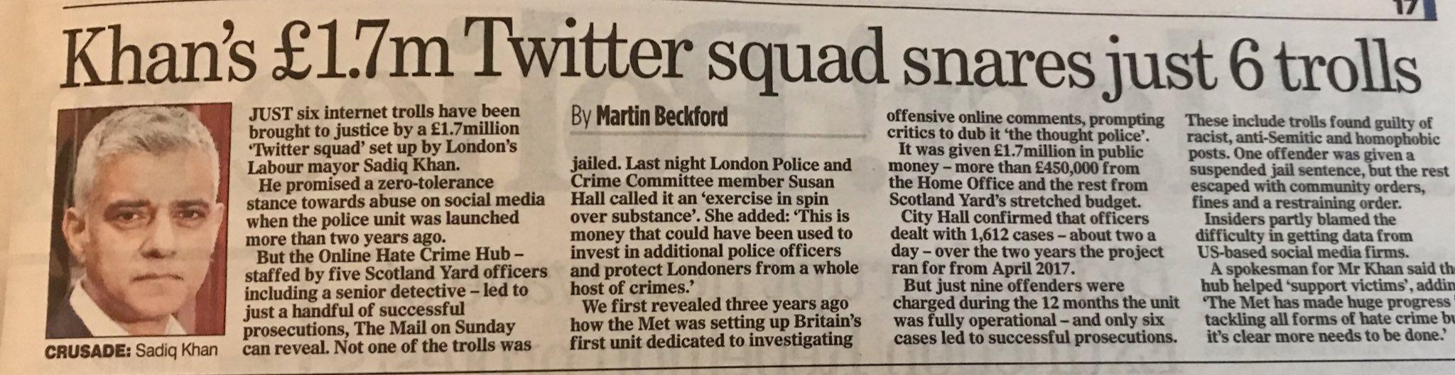Sadiq Khan's £1.7m Twitter Squad snares just 6 trolls (none jailed) Khan10