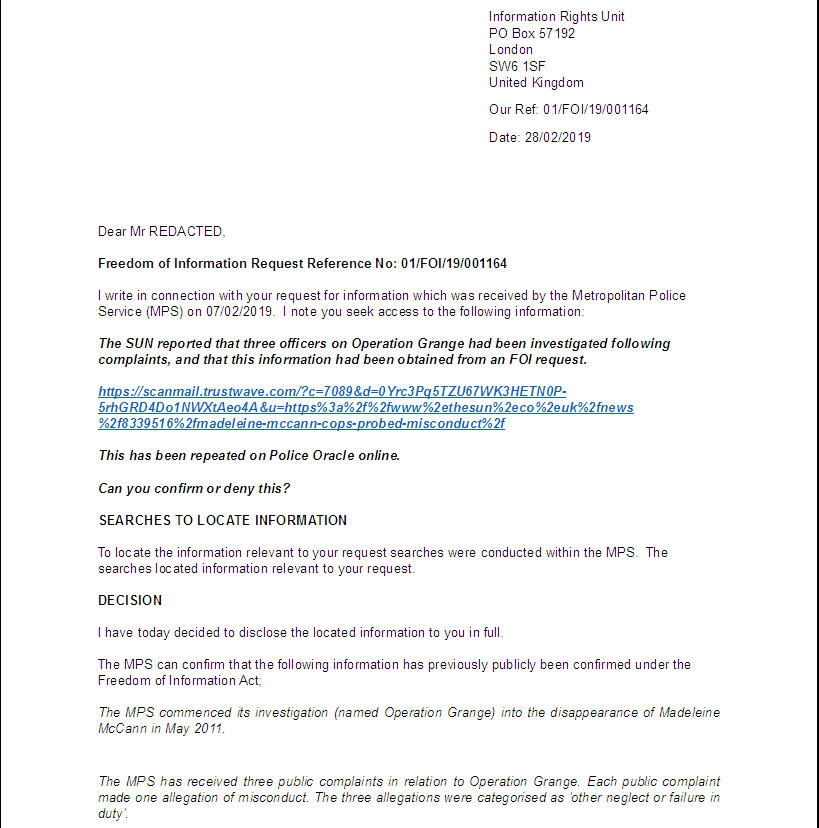 MET Police FOI Response re: Sun allegations of complaints made about 3 Operation Grange Officers Metpol19