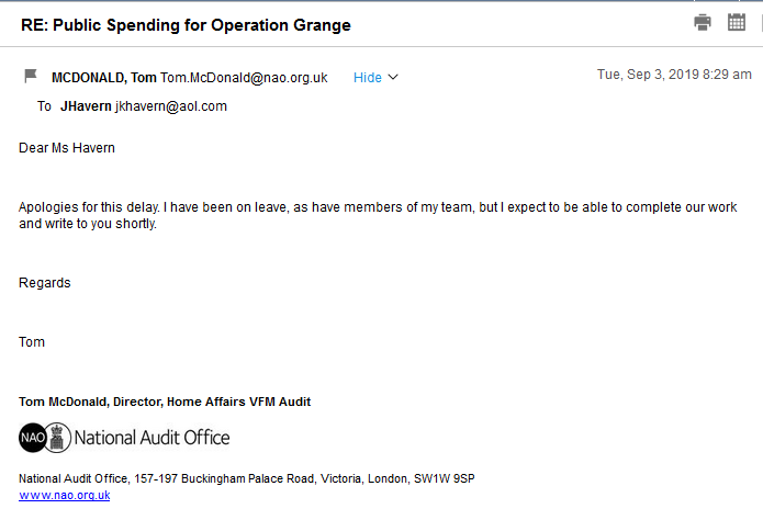 National Audit Office: Re: Public Spending for Operation Grange Nao10