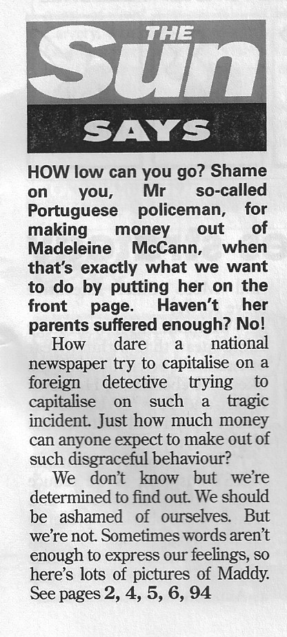 "Private Eye No 1483, p. 31: The Sun Says ""Shame on you, Mr so-called Portuguese policeman for making money out of Madeleine McCann"" Privat10"