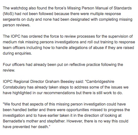 Police criticised for FAILING to look immediately at parents who reported child missing which later became murder inquiry Thumbn14