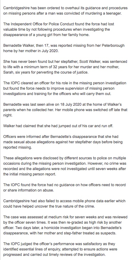 Police criticised for FAILING to look immediately at parents who reported child missing which later became murder inquiry Thumbn16