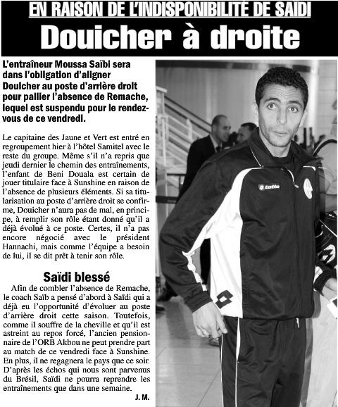 [CC, Groupe B - Journée 2] JS.Kabylie 1 - 2 Sunshine Stars (NGR) (Après Match) - Page 2 Douich10