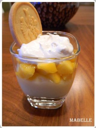 Pouding vanille aux mangues en verrine Desser10