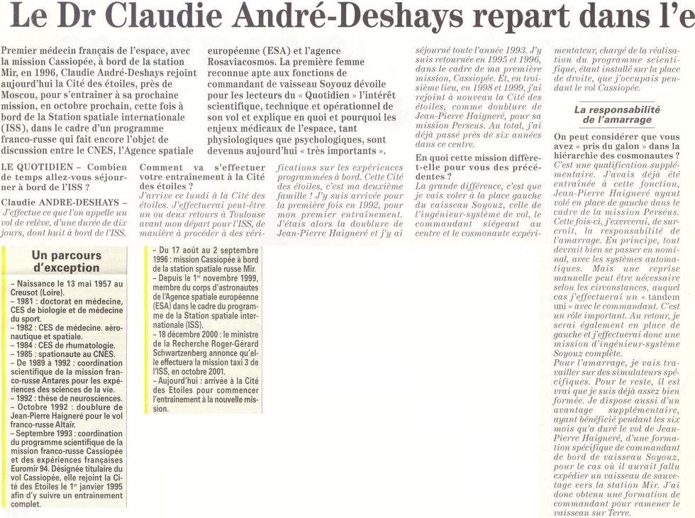 Claudie Haigneré - 1ère Française dans l'espace - Page 2 01011511