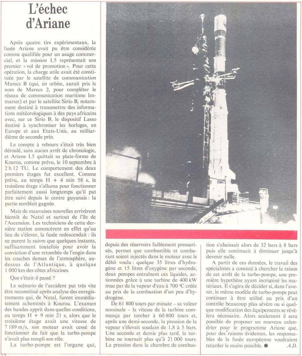 10 septembre 1982 - Echec Ariane 1 L5 - MARECS-B, SIRIO-2 82100010