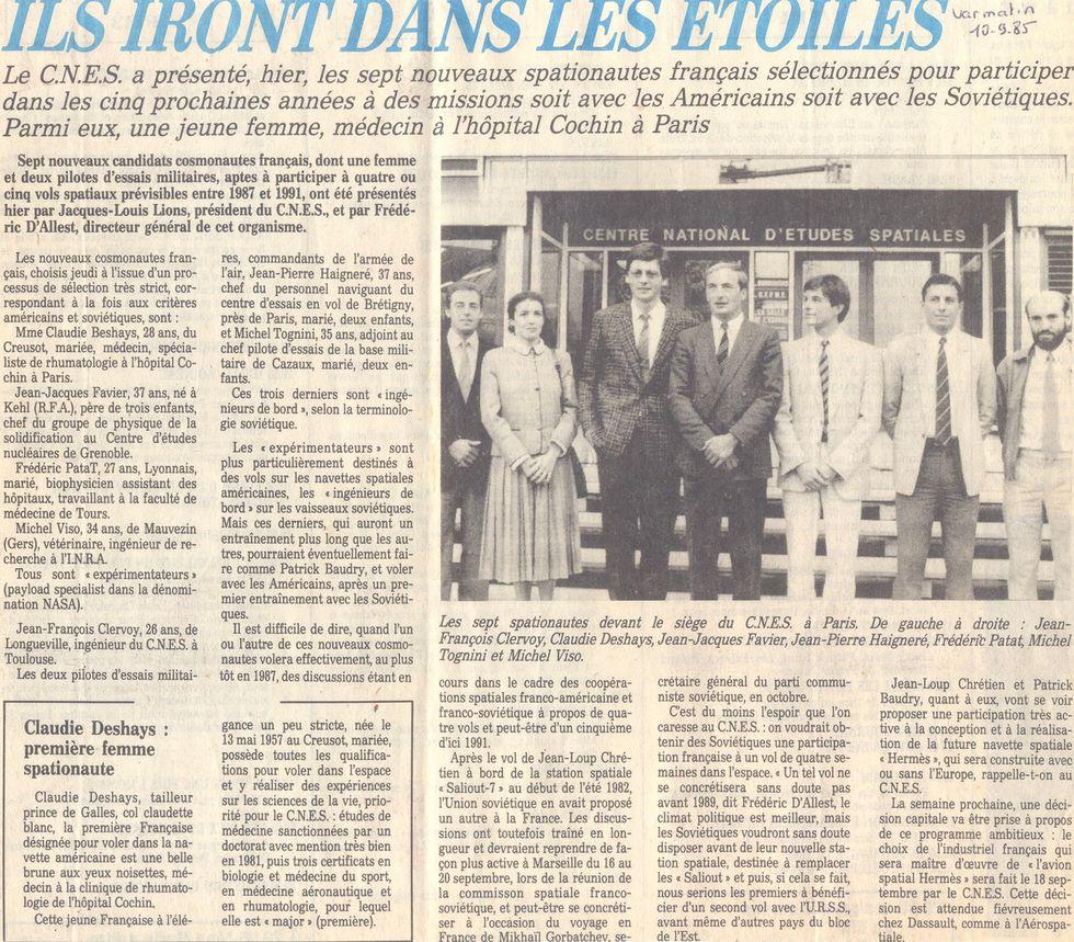 Octobre 1985 - Les nouveaux astronautes français 85091010