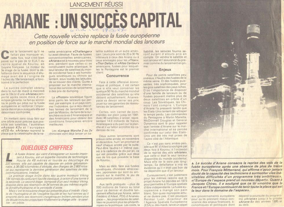 16 septembre 1987 - Ariane 3 V19 - Aussat K3 - ECS 4 87091710