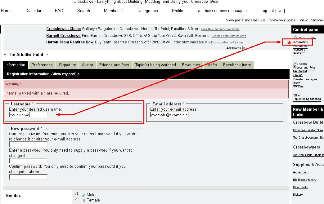Changing/Correcting your Name on the Forum Exampl10