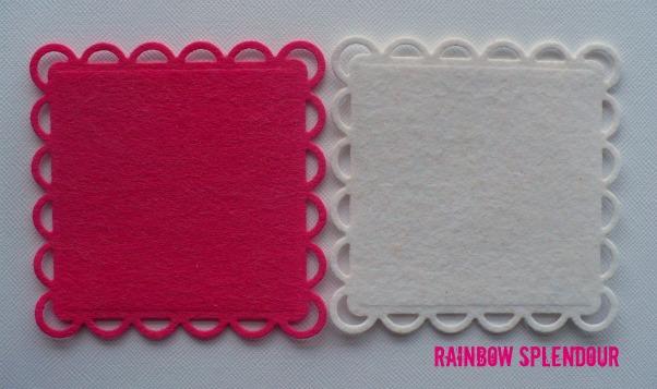 Rainbow Splendour Square felt doilies 014res10