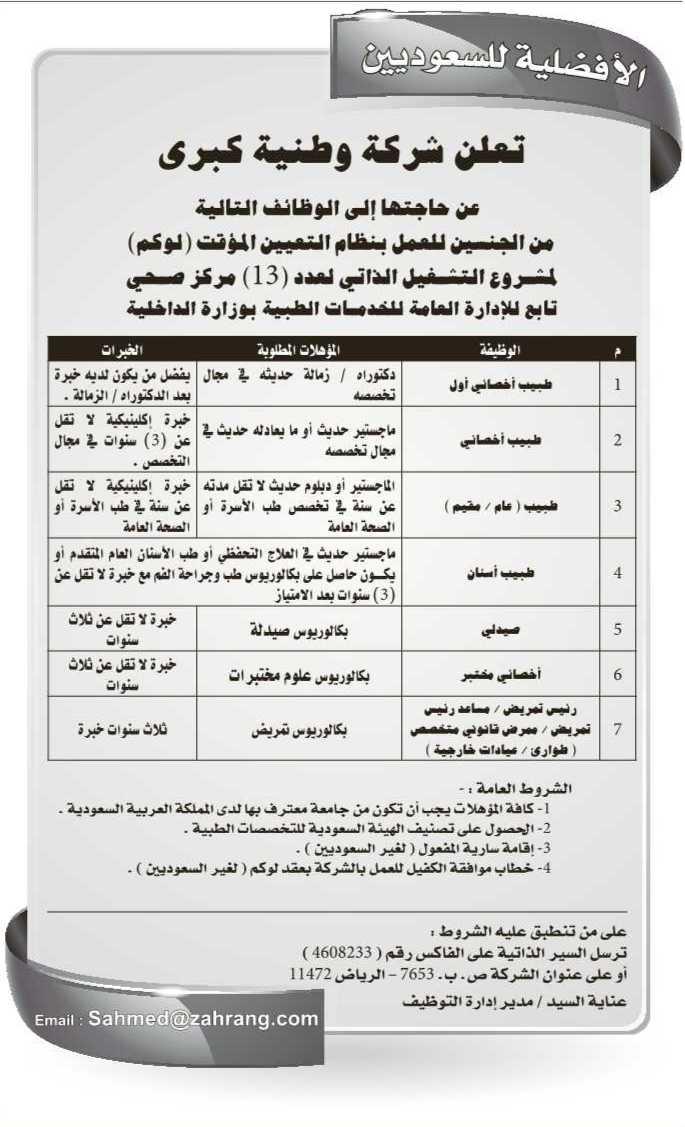 مطلوب اخصائى مختبر من الجنسين للعمل بالسعوديه A1005-63