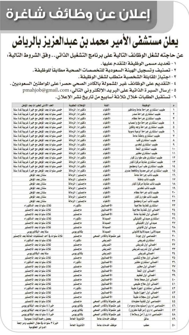 مطلوب اطباء للعمل بمستشفى الامير محمد بن عبد العزيز A1005121