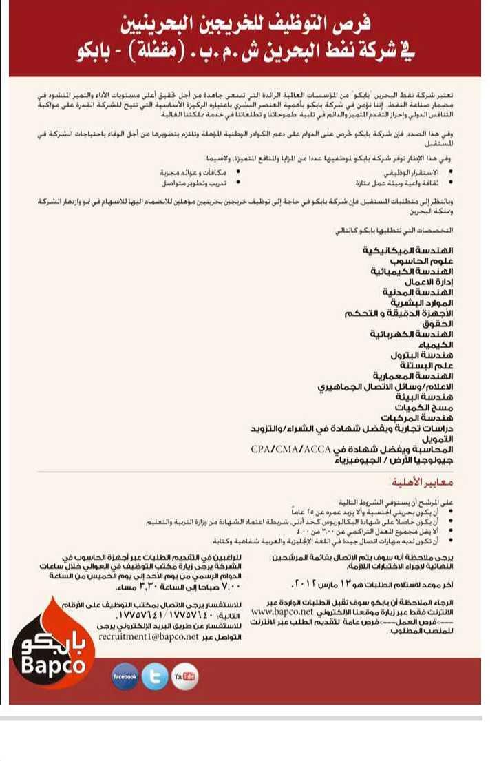 مطلوب كيميائيين وجيولوجيين وعلوم حاسب للعمل ببترول البحرين(للبحرينيين) H1010-12
