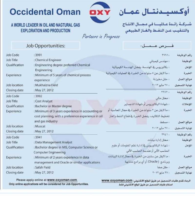 مطلوب مهندس كيميائى للعمل بشركة اوكسيدنتال عمان للتنقيب عن النفط I1006-26
