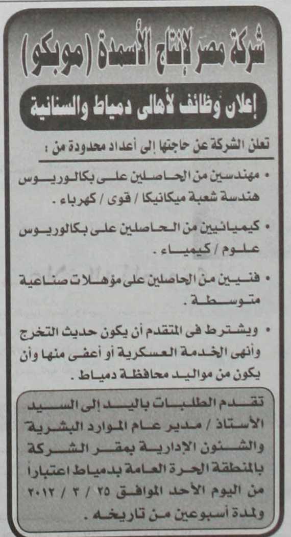 مطلوب كيميائيين حديثى التخرج للعمل بشركة مصر لانتاج الاسمنت-موبكو K1001390