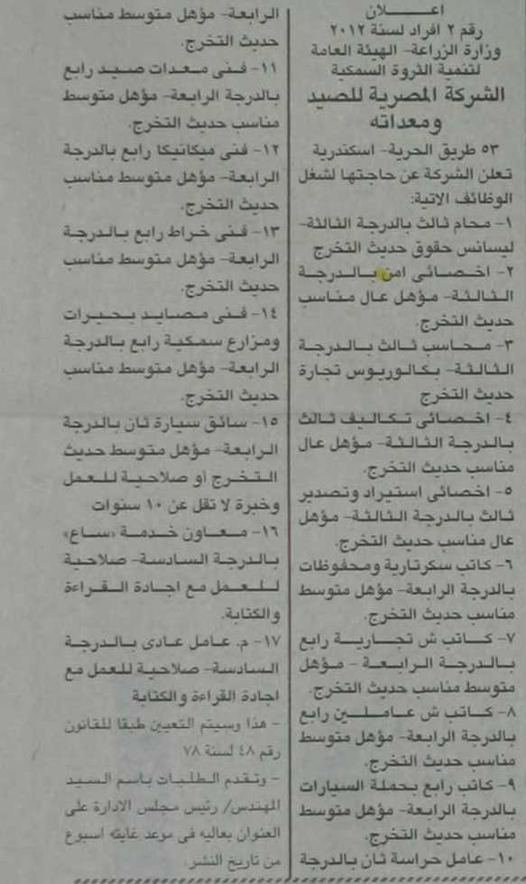 مطلوب محامى للعمل بالشركه المصريه للصيد ومعداته K1002-53