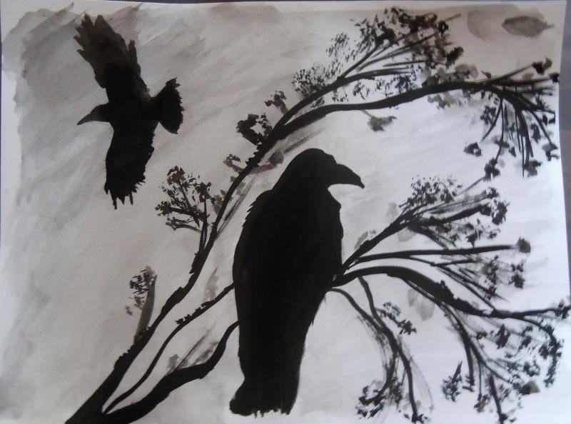 Corbeaux - Coloriage corbeau ...