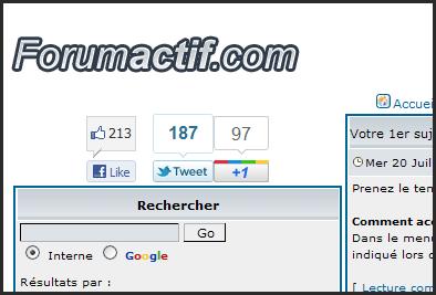 Nouveauté forumactif : Nouveau système anti spammeurs + Widget de partage social Google « +1 ». 20-07-13