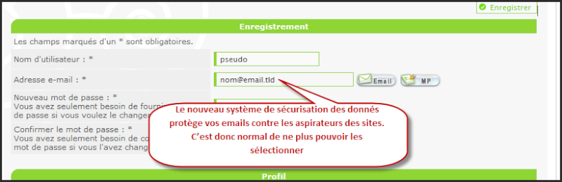 """Optimisation de la sécurité des données personnelles sur les forums : Nouveau système """"Anti-aspirateur"""" 27-09-10"""