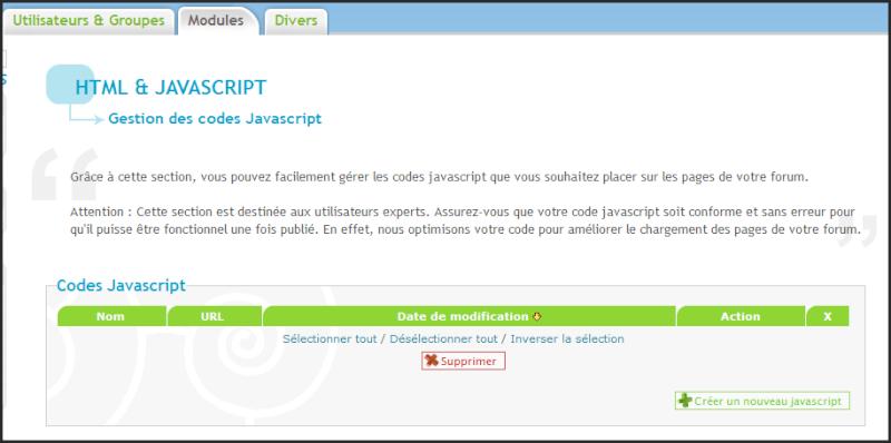 Nouveauté forumactif: Gestion des codes Javascript 28-06-10