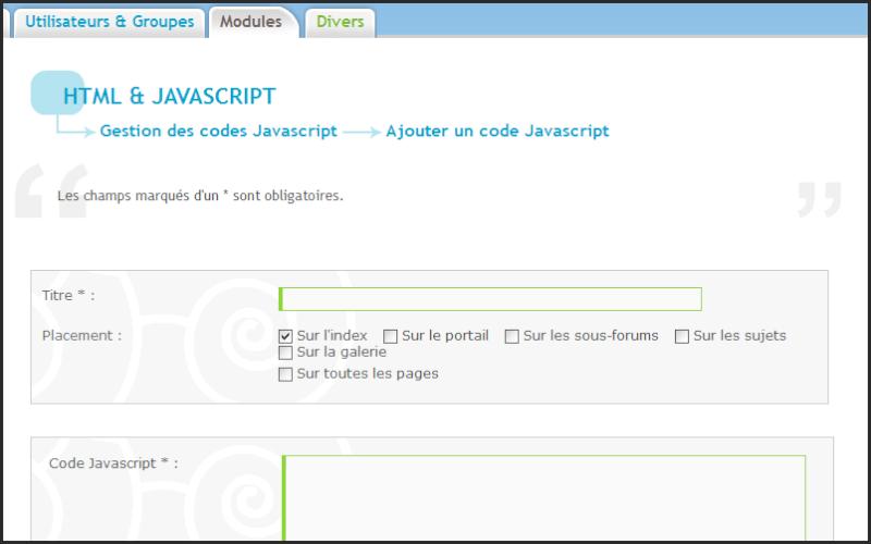 Nouveauté forumactif: Gestion des codes Javascript 28-06-11