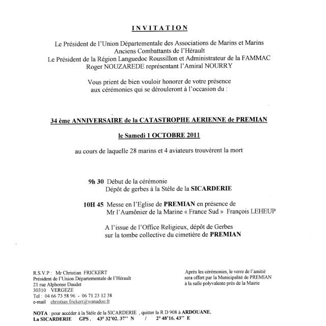 34ème anniversaire de l'accident aérien de Premian - Noratlas n° 182 Invita10